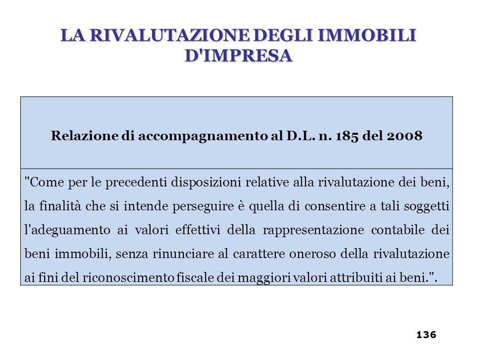 Relazione di accompagnamento al D.L. n. 185 del 2008