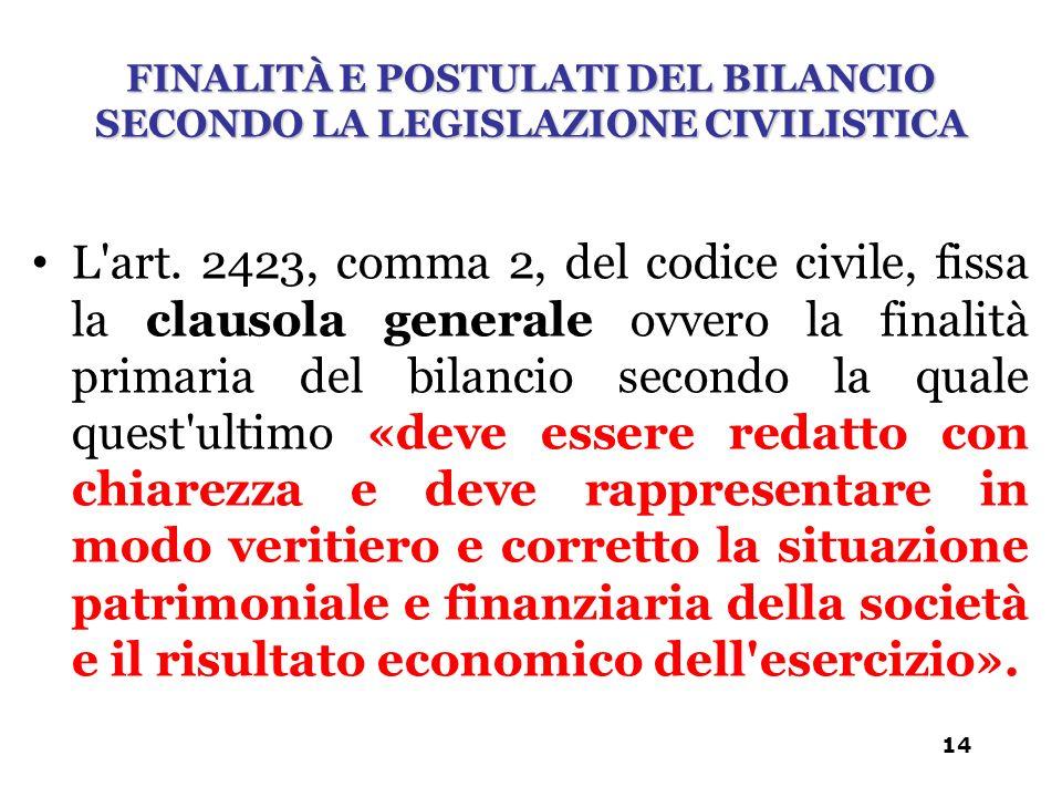 L'art. 2423, comma 2, del codice civile, fissa la clausola generale ovvero la finalità primaria del bilancio secondo la quale quest'ultimo «deve esser