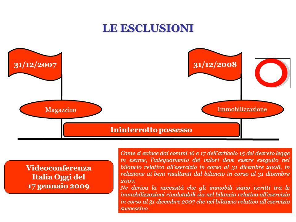 31/12/200731/12/2008 Ininterrotto possesso Magazzino Videoconferenza Italia Oggi del 17 gennaio 2009 Come si evince dai commi 16 e 17 dell'articolo 15