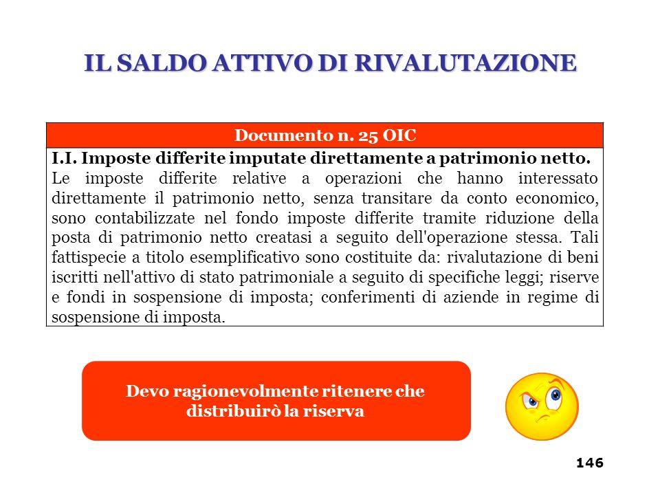 Documento n. 25 OIC I.I. Imposte differite imputate direttamente a patrimonio netto. Le imposte differite relative a operazioni che hanno interessato