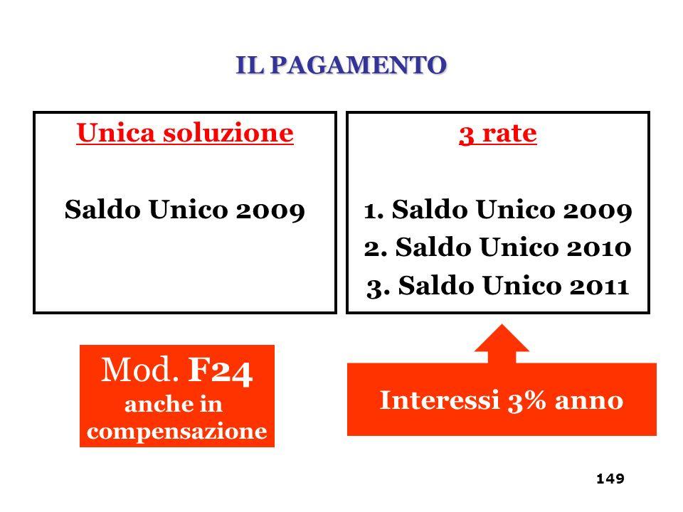 Unica soluzione Saldo Unico 2009 3 rate 1. Saldo Unico 2009 2. Saldo Unico 2010 3. Saldo Unico 2011 Interessi 3% anno Mod. F24 anche in compensazione