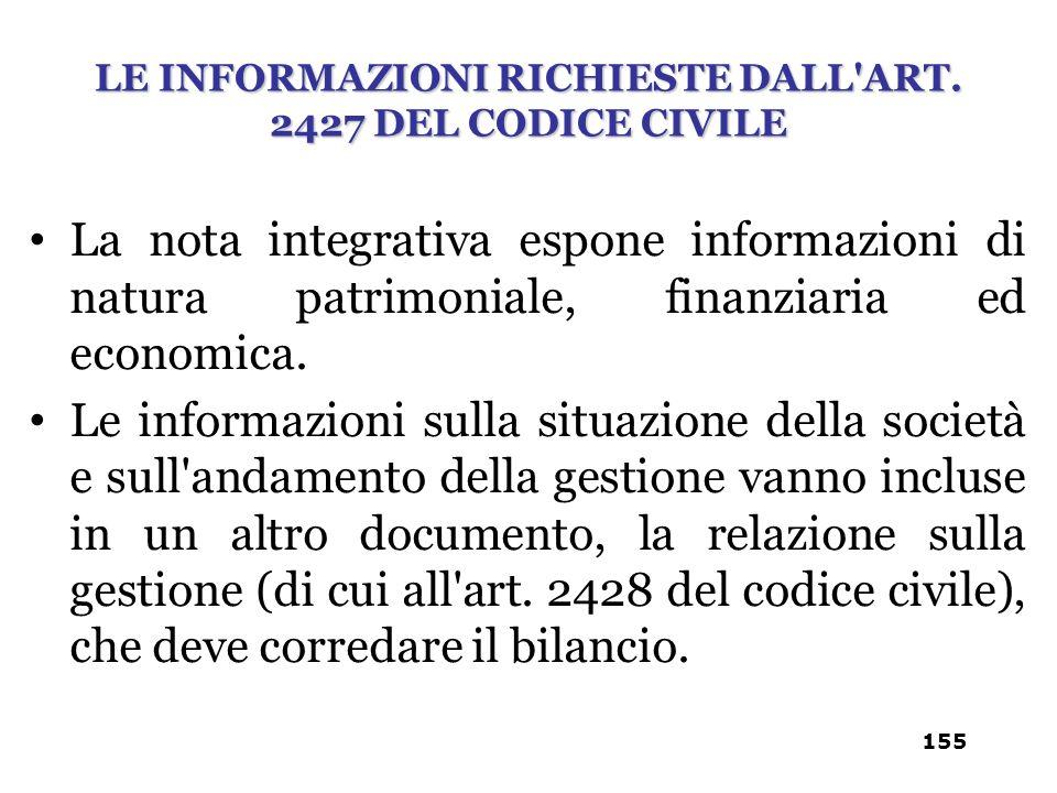 La nota integrativa espone informazioni di natura patrimoniale, finanziaria ed economica. Le informazioni sulla situazione della società e sull'andame