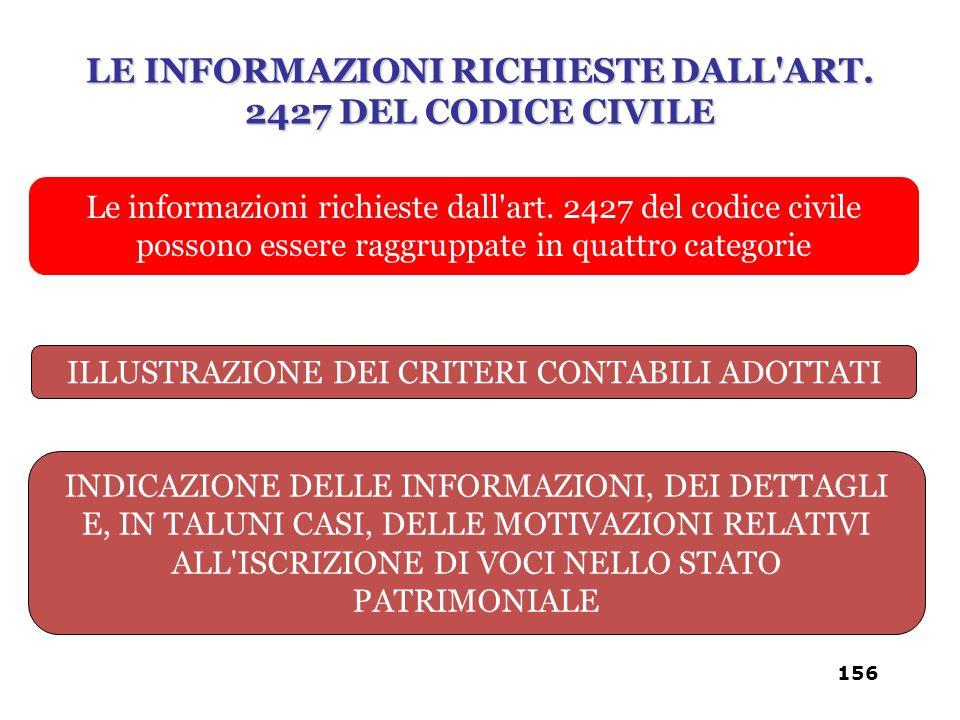 Le informazioni richieste dall'art. 2427 del codice civile possono essere raggruppate in quattro categorie ILLUSTRAZIONE DEI CRITERI CONTABILI ADOTTAT