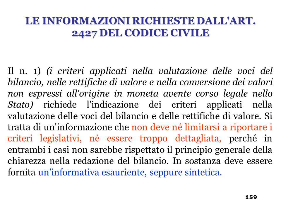 Il n. 1) (i criteri applicati nella valutazione delle voci del bilancio, nelle rettifiche di valore e nella conversione dei valori non espressi all'or