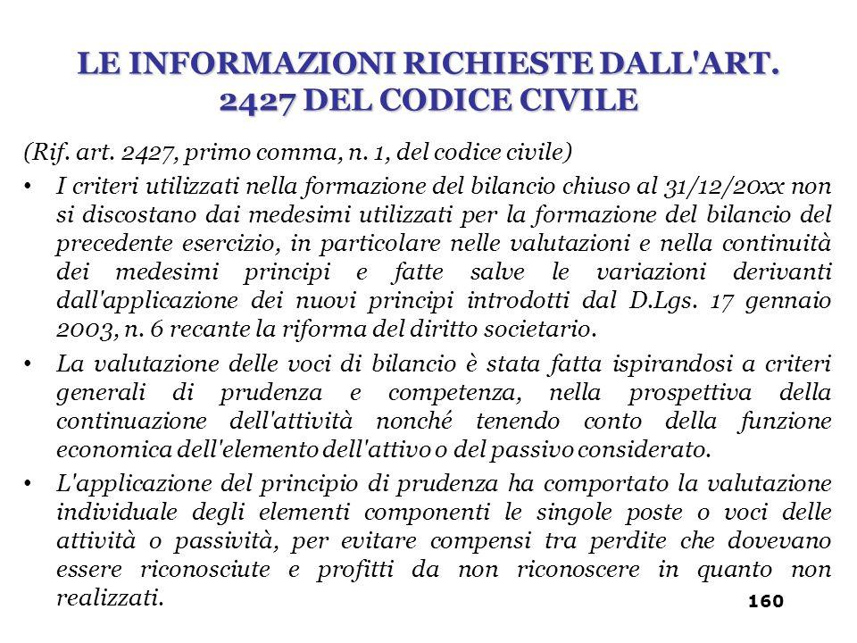 (Rif. art. 2427, primo comma, n. 1, del codice civile) I criteri utilizzati nella formazione del bilancio chiuso al 31/12/20xx non si discostano dai m