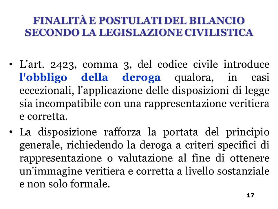 L'art. 2423, comma 3, del codice civile introduce l'obbligo della deroga qualora, in casi eccezionali, l'applicazione delle disposizioni di legge sia