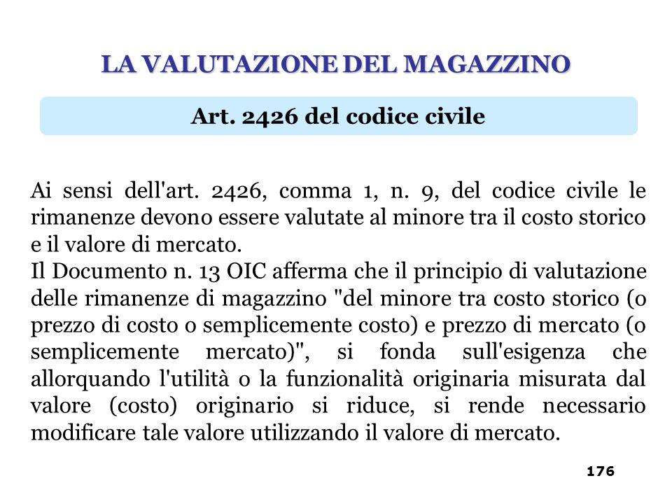 Ai sensi dell'art. 2426, comma 1, n. 9, del codice civile le rimanenze devono essere valutate al minore tra il costo storico e il valore di mercato. I