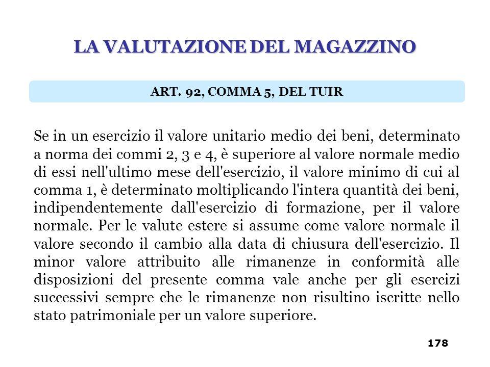 Se in un esercizio il valore unitario medio dei beni, determinato a norma dei commi 2, 3 e 4, è superiore al valore normale medio di essi nell'ultimo