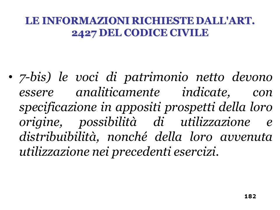 7-bis) le voci di patrimonio netto devono essere analiticamente indicate, con specificazione in appositi prospetti della loro origine, possibilità di