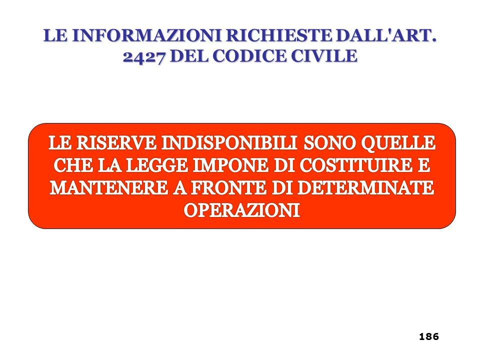 LE INFORMAZIONI RICHIESTE DALL'ART. 2427 DEL CODICE CIVILE 186