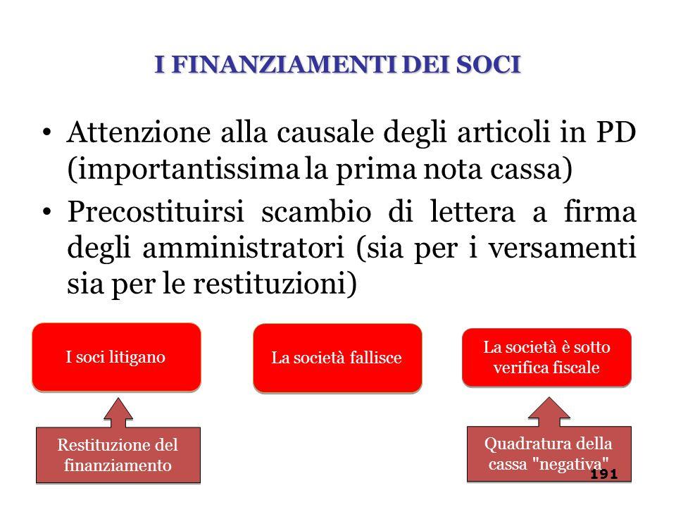 Attenzione alla causale degli articoli in PD (importantissima la prima nota cassa) Precostituirsi scambio di lettera a firma degli amministratori (sia