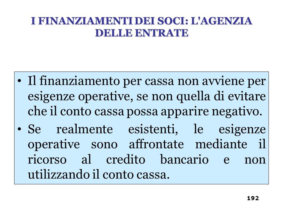 Il finanziamento per cassa non avviene per esigenze operative, se non quella di evitare che il conto cassa possa apparire negativo. Se realmente esist