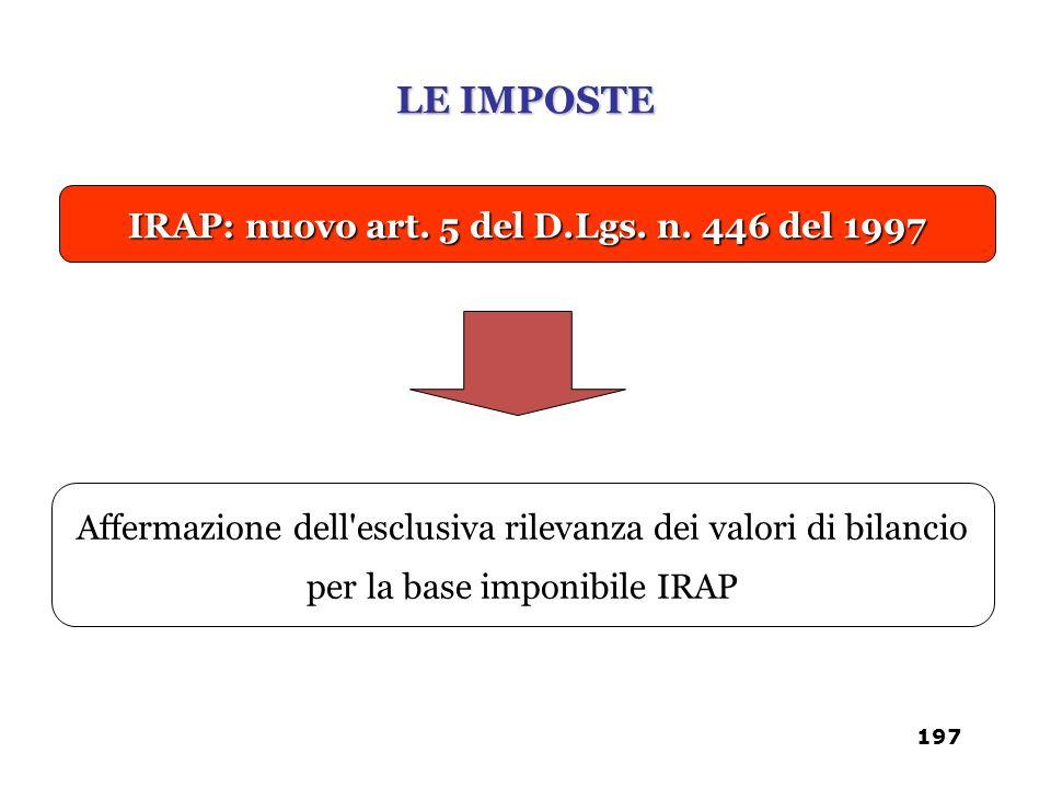 IRAP: nuovo art. 5 del D.Lgs. n. 446 del 1997 Affermazione dell'esclusiva rilevanza dei valori di bilancio per la base imponibile IRAP LE IMPOSTE 197