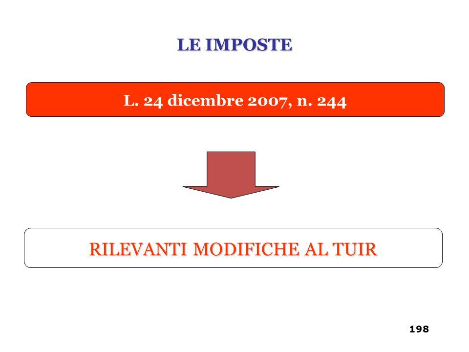 L. 24 dicembre 2007, n. 244 RILEVANTI MODIFICHE AL TUIR LE IMPOSTE 198