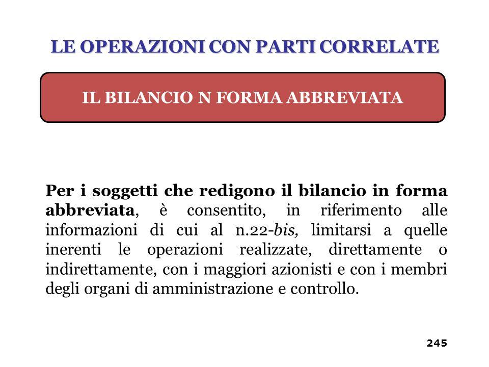 245 Per i soggetti che redigono il bilancio in forma abbreviata, è consentito, in riferimento alle informazioni di cui al n.22-bis, limitarsi a quelle