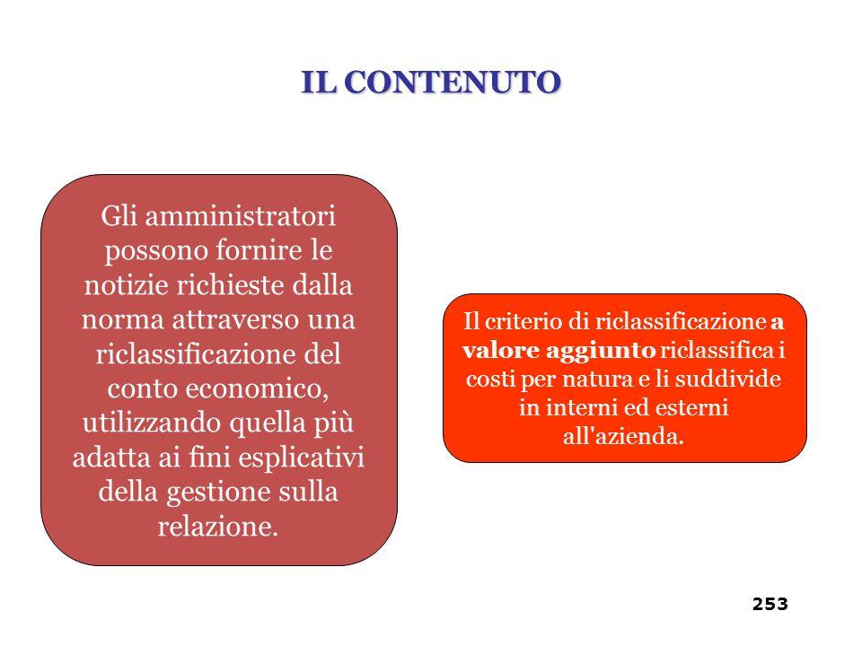 Il criterio di riclassificazione a valore aggiunto riclassifica i costi per natura e li suddivide in interni ed esterni all'azienda. Gli amministrator