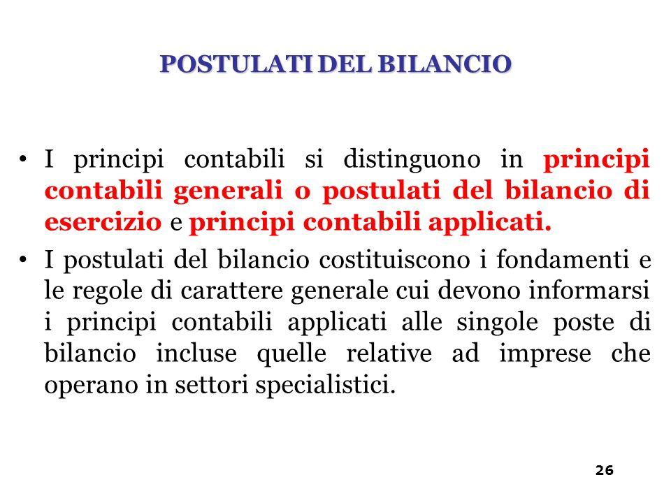 I principi contabili si distinguono in principi contabili generali o postulati del bilancio di esercizio e principi contabili applicati. I postulati d