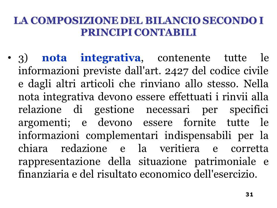 3) nota integrativa, contenente tutte le informazioni previste dall'art. 2427 del codice civile e dagli altri articoli che rinviano allo stesso. Nella