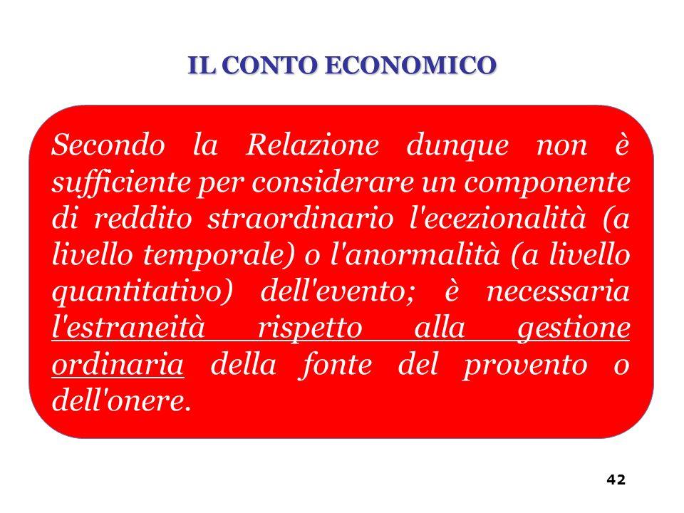 Secondo la Relazione dunque non è sufficiente per considerare un componente di reddito straordinario l'ecezionalità (a livello temporale) o l'anormali