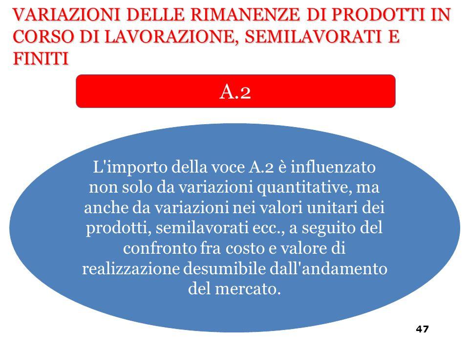 L'importo della voce A.2 è influenzato non solo da variazioni quantitative, ma anche da variazioni nei valori unitari dei prodotti, semilavorati ecc.,