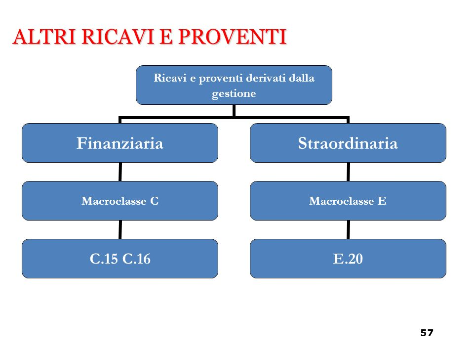 ALTRI RICAVI E PROVENTI Ricavi e proventi derivati dalla gestione Finanziaria Macroclasse C C.15 C.16 Straordinaria Macroclasse E E.20 57