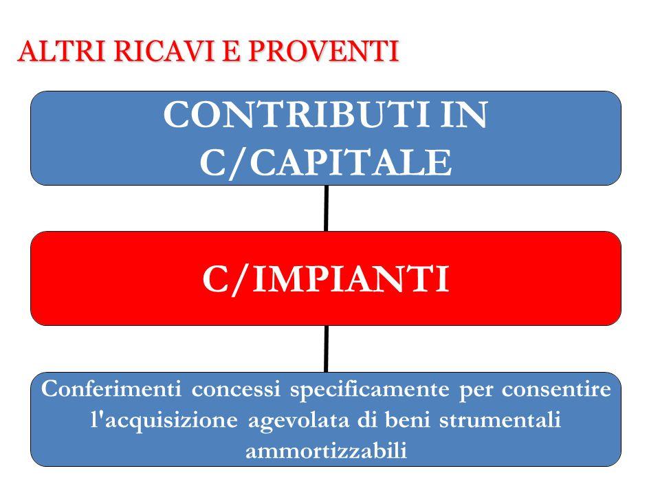 ALTRI RICAVI E PROVENTI CONTRIBUTI IN C/CAPITALE C/IMPIANTI Conferimenti concessi specificamente per consentire l'acquisizione agevolata di beni strum