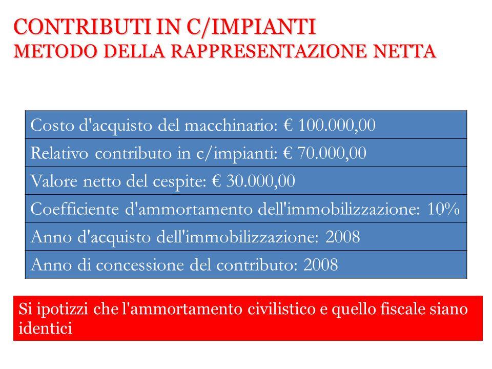 Costo d'acquisto del macchinario: 100.000,00 Relativo contributo in c/impianti: 70.000,00 Valore netto del cespite: 30.000,00 Coefficiente d'ammortame