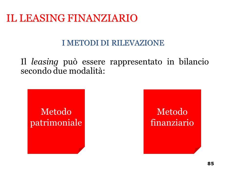 IL LEASING FINANZIARIO I METODI DI RILEVAZIONE Metodo patrimoniale Metodo finanziario Il leasing può essere rappresentato in bilancio secondo due moda