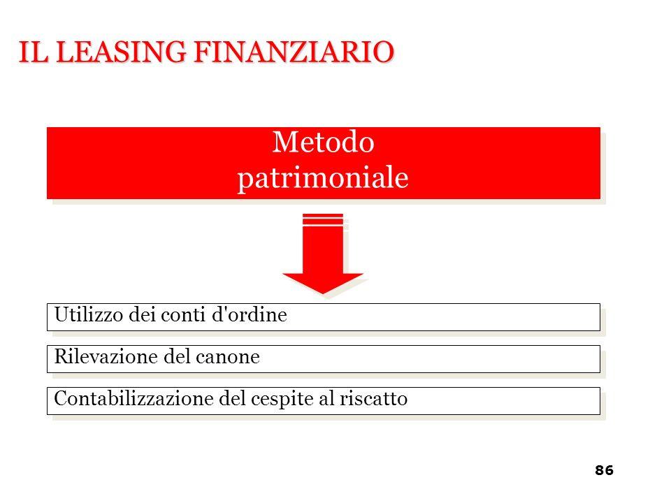 IL LEASING FINANZIARIO Utilizzo dei conti d'ordine Rilevazione del canone Contabilizzazione del cespite al riscatto Metodo patrimoniale Metodo patrimo