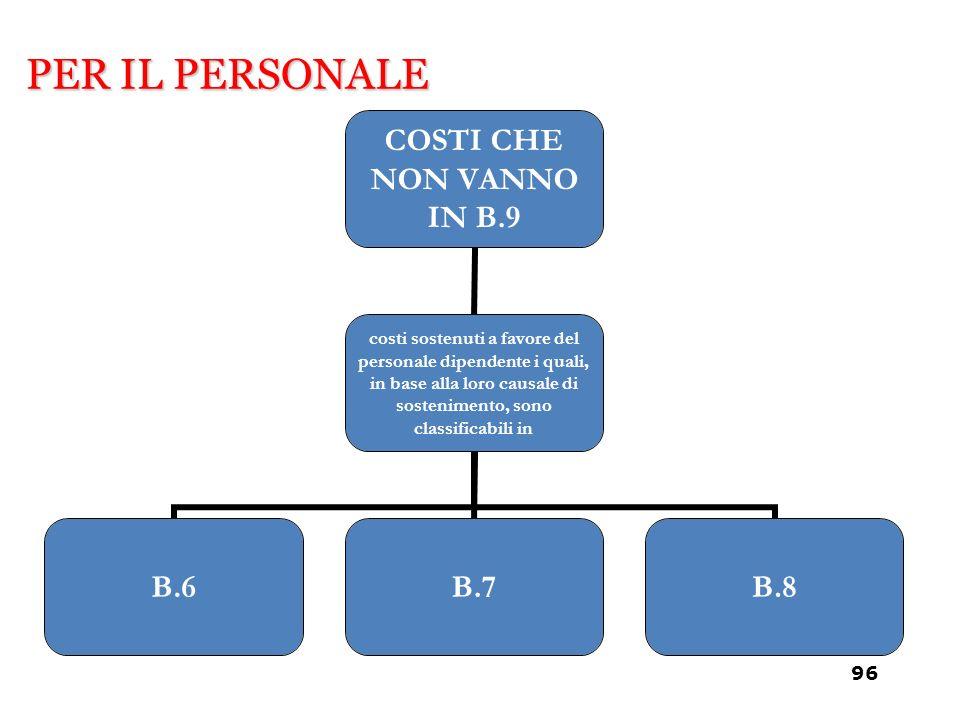 COSTI CHE NON VANNO IN B.9 costi sostenuti a favore del personale dipendente i quali, in base alla loro causale di sostenimento, sono classificabili i