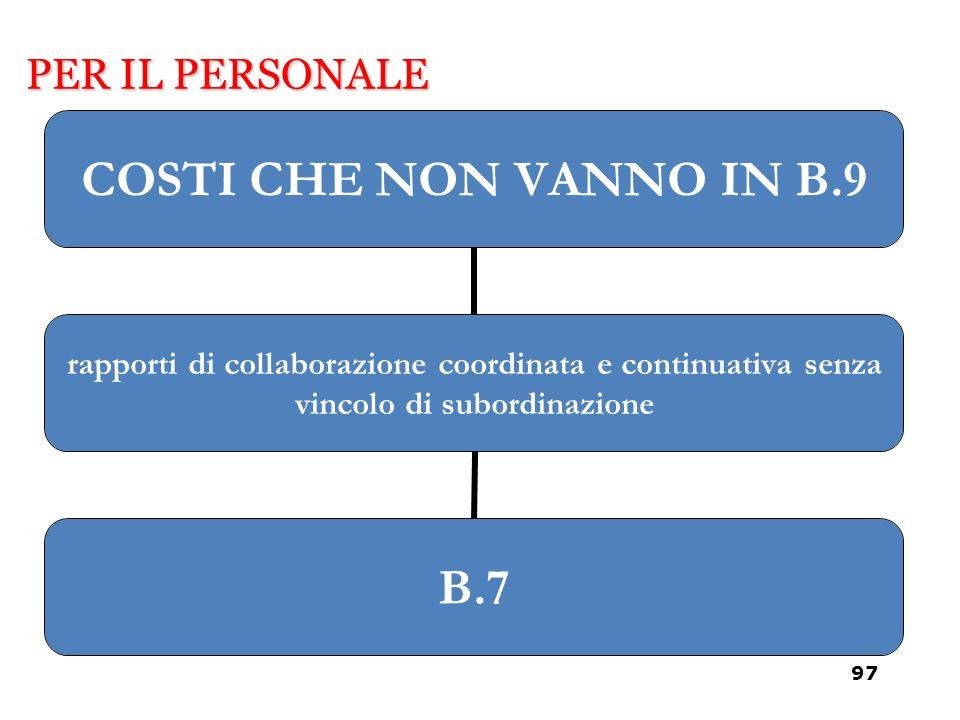 COSTI CHE NON VANNO IN B.9 rapporti di collaborazione coordinata e continuativa senza vincolo di subordinazione B.7 PER IL PERSONALE 97