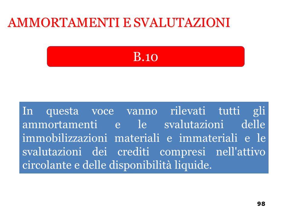 AMMORTAMENTI E SVALUTAZIONI B.10 In questa voce vanno rilevati tutti gli ammortamenti e le svalutazioni delle immobilizzazioni materiali e immateriali