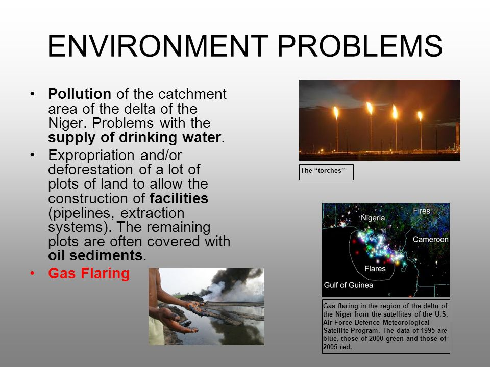 ENVIRONMENT PROBLEMS Pollution of the catchment area of the delta of the Niger.