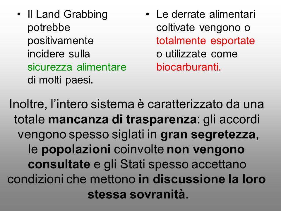 Il Land Grabbing potrebbe positivamente incidere sulla sicurezza alimentare di molti paesi. Le derrate alimentari coltivate vengono o totalmente espor