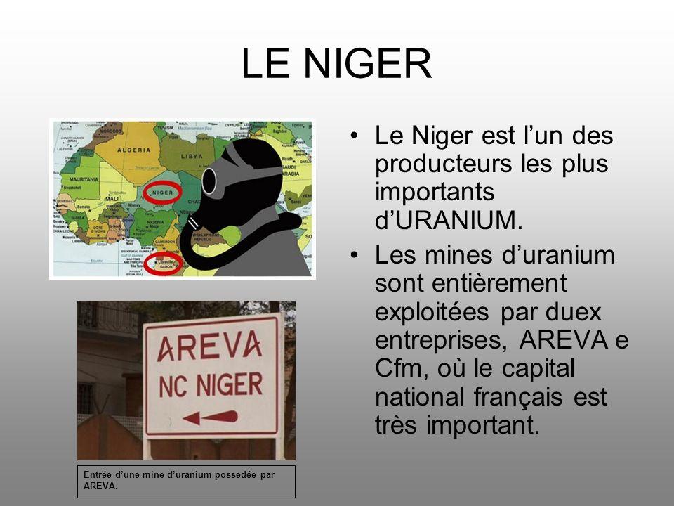 LE NIGER Le Niger est lun des producteurs les plus importants dURANIUM. Les mines duranium sont entièrement exploitées par duex entreprises, AREVA e C
