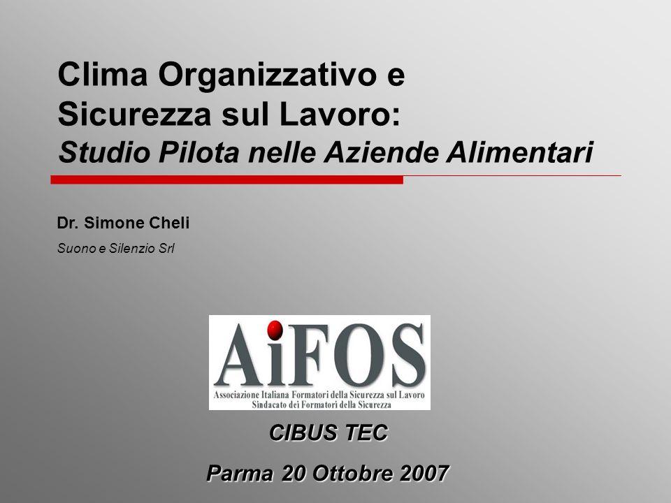 Clima Organizzativo e Sicurezza sul Lavoro: Studio Pilota nelle Aziende Alimentari Dr. Simone Cheli Suono e Silenzio Srl CIBUS TEC Parma 20 Ottobre 20