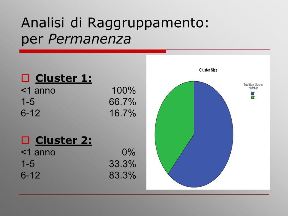 Analisi di Raggruppamento: per Permanenza Cluster 1: <1 anno 100% 1-5 66.7% 6-12 16.7% Cluster 2: <1 anno 0% 1-5 33.3% 6-12 83.3%