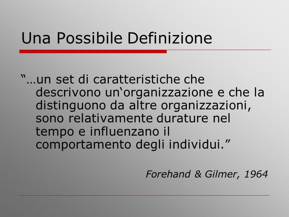 Una Possibile Definizione …un set di caratteristiche che descrivono unorganizzazione e che la distinguono da altre organizzazioni, sono relativamente