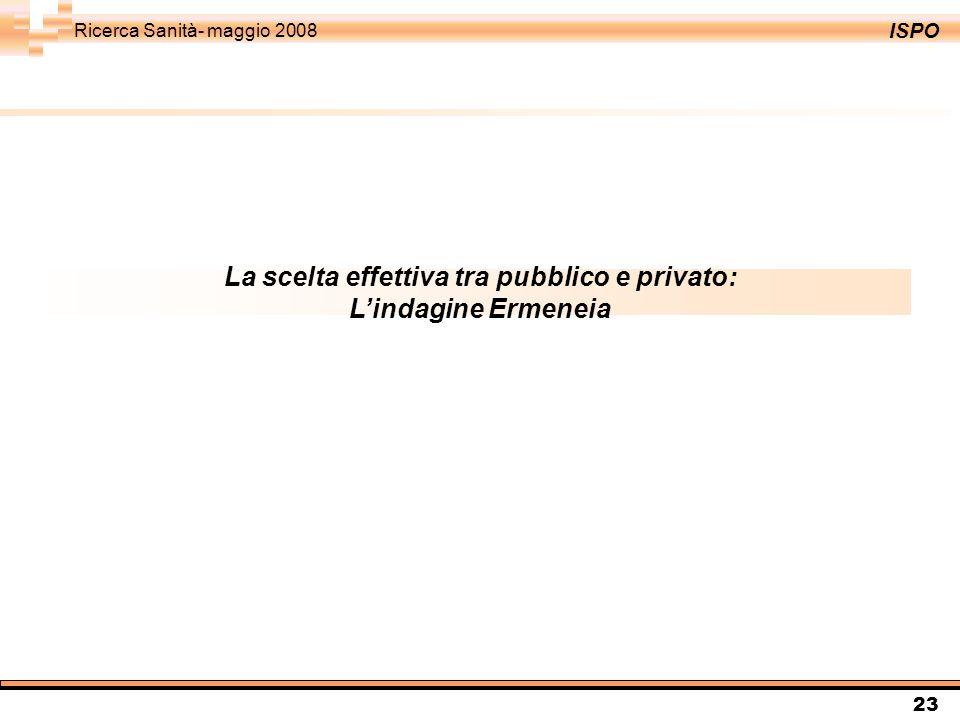 ISPO Ricerca Sanità- maggio 2008 23 La scelta effettiva tra pubblico e privato: Lindagine Ermeneia