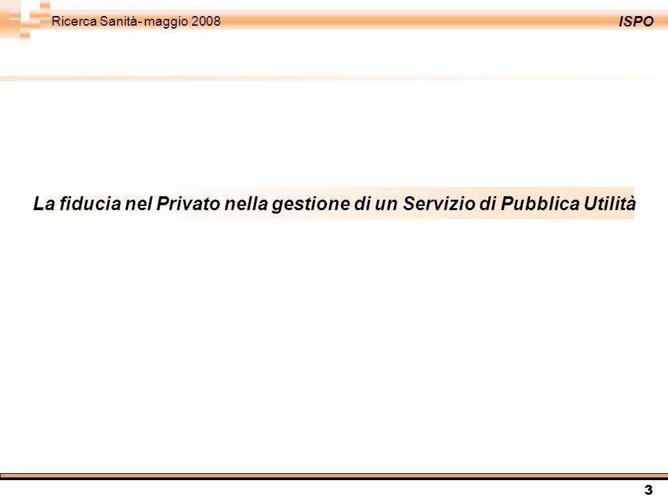 ISPO Ricerca Sanità- maggio 2008 3 La fiducia nel Privato nella gestione di un Servizio di Pubblica Utilità