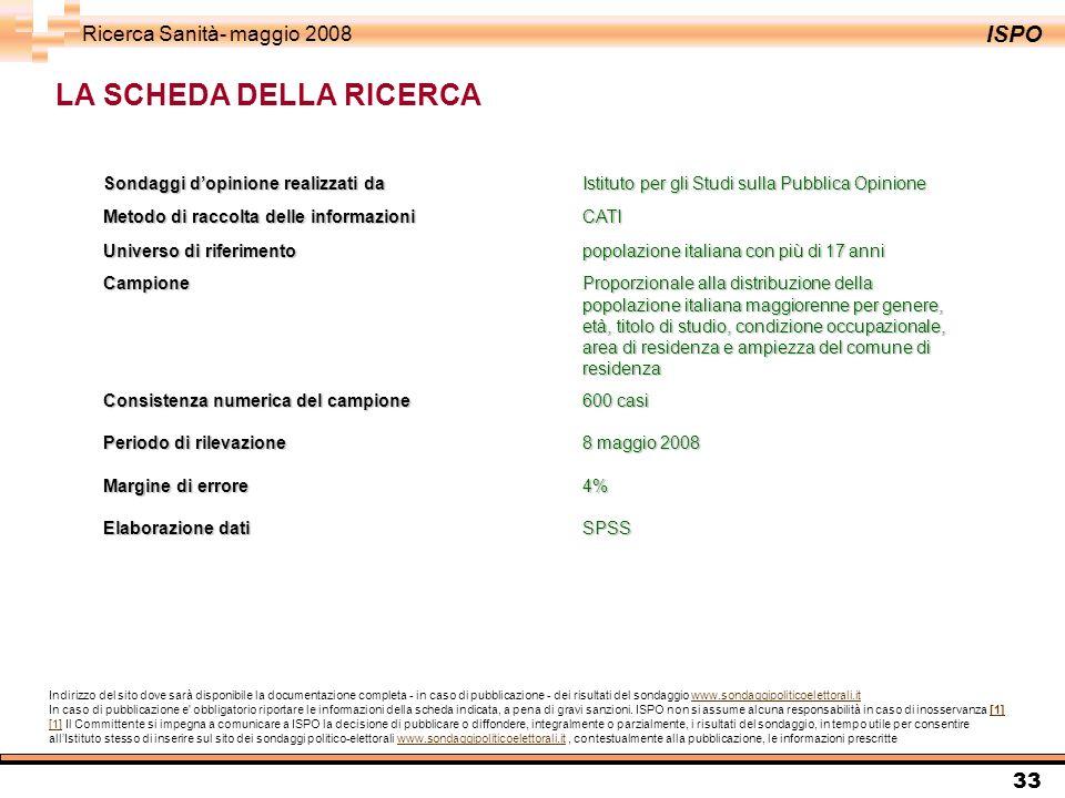 ISPO Ricerca Sanità- maggio 2008 33 LA SCHEDA DELLA RICERCA Sondaggi dopinione realizzati da Istituto per gli Studi sulla Pubblica Opinione Metodo di raccolta delle informazioniCATI Universo di riferimentopopolazione italiana con più di 17 anni CampioneProporzionale alla distribuzione della popolazione italiana maggiorenne per genere, età, titolo di studio, condizione occupazionale, area di residenza e ampiezza del comune di residenza Consistenza numerica del campione600 casi Periodo di rilevazione8 maggio 2008 Margine di errore 4% Elaborazione dati SPSS Indirizzo del sito dove sarà disponibile la documentazione completa - in caso di pubblicazione - dei risultati del sondaggio www.sondaggipoliticoelettorali.itwww.sondaggipoliticoelettorali.it In caso di pubblicazione e obbligatorio riportare le informazioni della scheda indicata, a pena di gravi sanzioni.