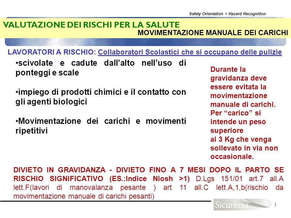 Safety Orientation + Hazard Recognition 103 LAVORATORI A RISCHIO: Collaboratori Scolastici che si occupano delle pulizie scivolate e cadute dallalto n