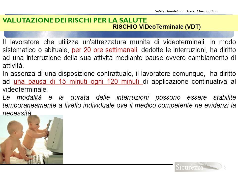 Safety Orientation + Hazard Recognition 104 LAVORATORI A RISCHIO: Collaboratori Scolastici che si occupano delle pulizie VALUTAZIONE DEI RISCHI PER LA