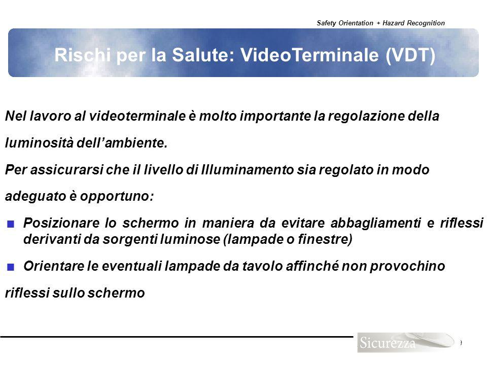 Safety Orientation + Hazard Recognition 109 Nel lavoro al videoterminale è molto importante la regolazione della luminosità dellambiente. Per assicura