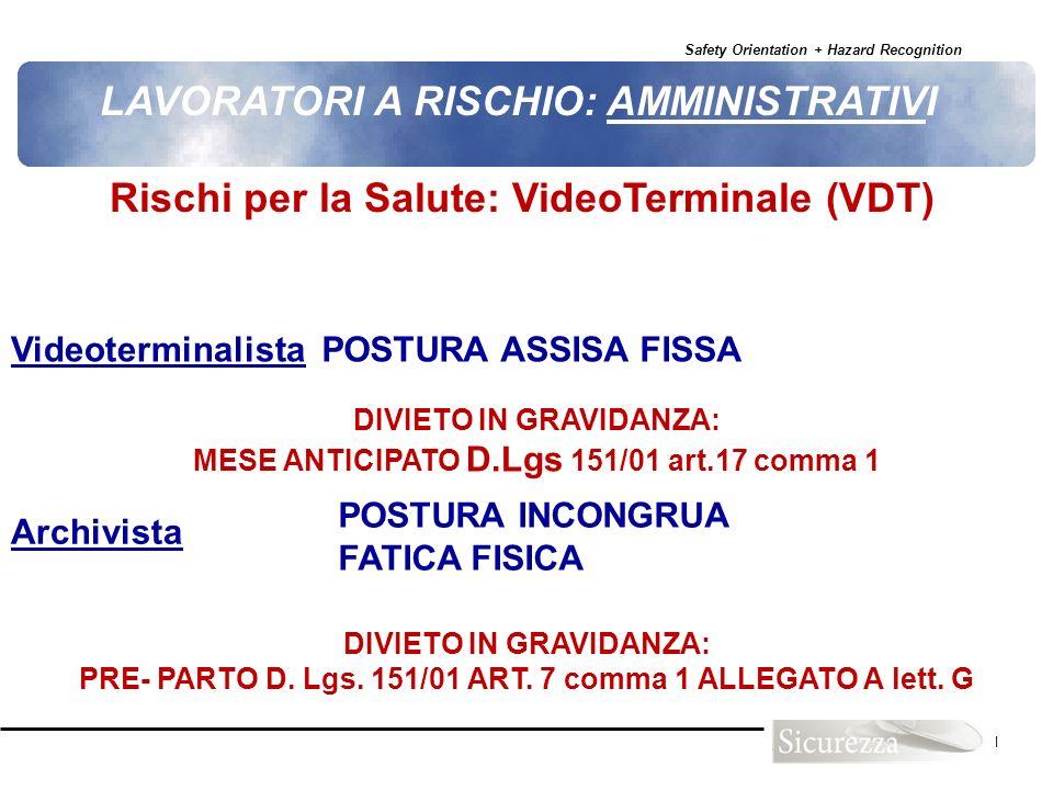 Safety Orientation + Hazard Recognition 111 Rischi per la Salute: VideoTerminale (VDT) LAVORATORI A RISCHIO: AMMINISTRATIVI VideoterminalistaPOSTURA A