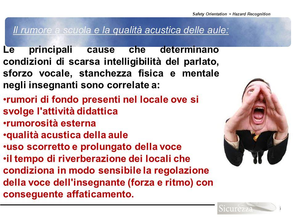 Safety Orientation + Hazard Recognition 115 Le principali cause che determinano condizioni di scarsa intelligibilità del parlato, sforzo vocale, stanc