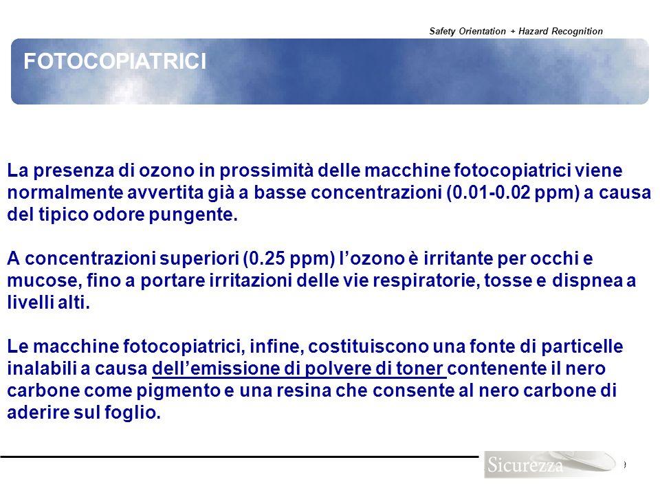 Safety Orientation + Hazard Recognition 119 La presenza di ozono in prossimità delle macchine fotocopiatrici viene normalmente avvertita già a basse c