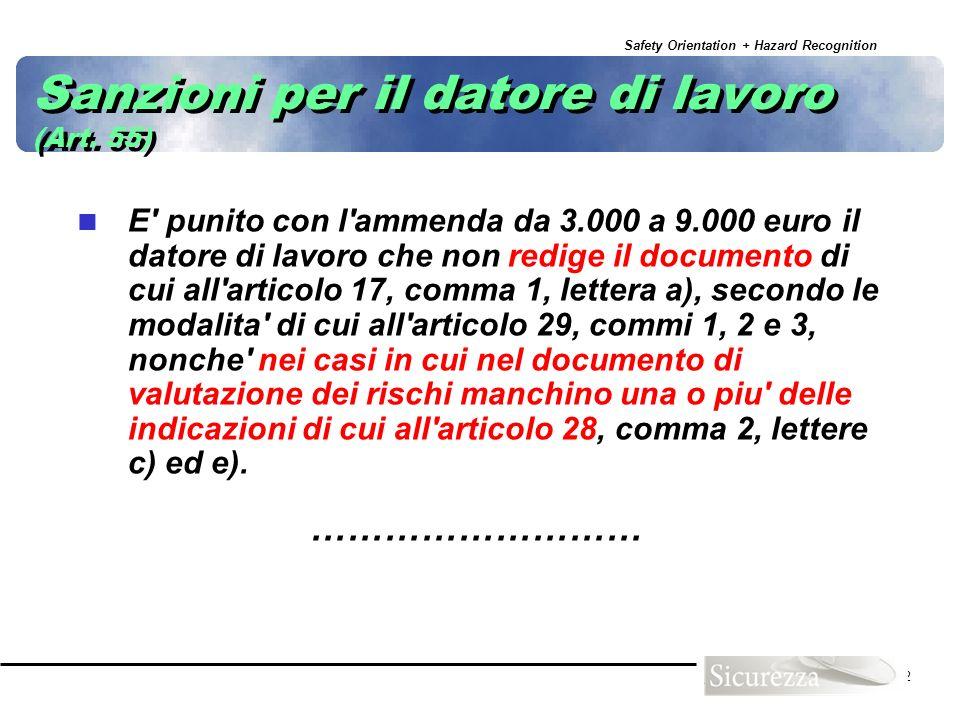 Safety Orientation + Hazard Recognition 12 Sanzioni per il datore di lavoro (Art. 55) E' punito con l'ammenda da 3.000 a 9.000 euro il datore di lavor