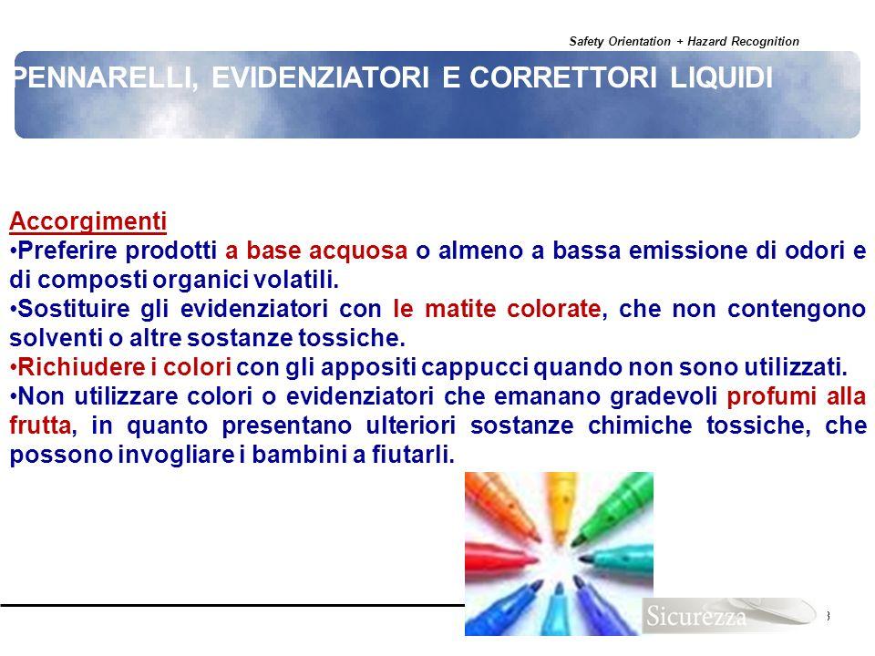 Safety Orientation + Hazard Recognition 123 Accorgimenti Preferire prodotti a base acquosa o almeno a bassa emissione di odori e di composti organici
