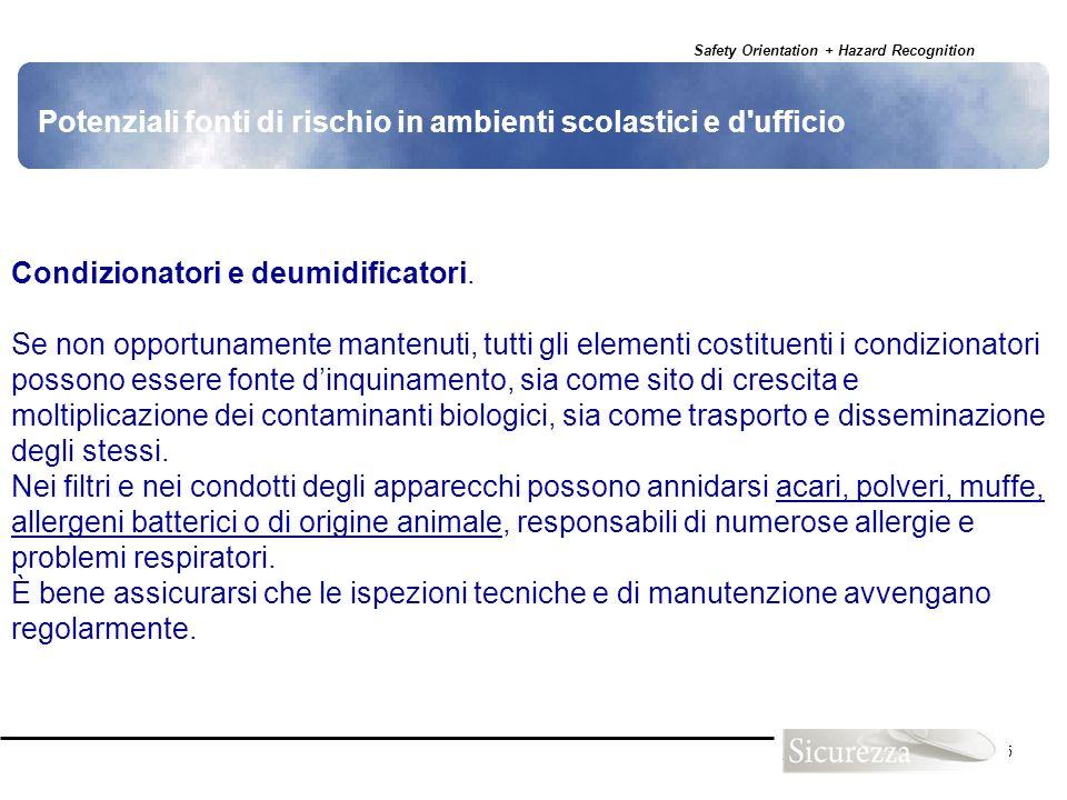 Safety Orientation + Hazard Recognition 125 Condizionatori e deumidificatori. Se non opportunamente mantenuti, tutti gli elementi costituenti i condiz
